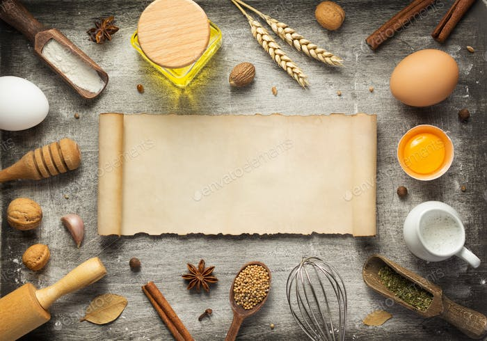 bakery and bread ingredients on wood
