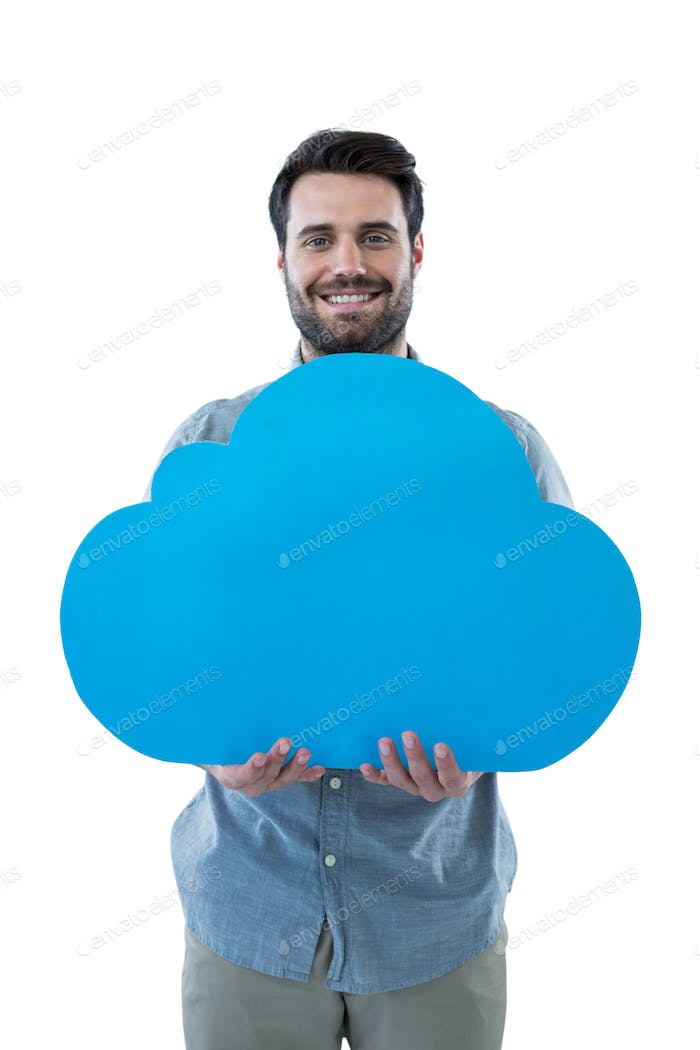 Smiling man holding a cloud cut out