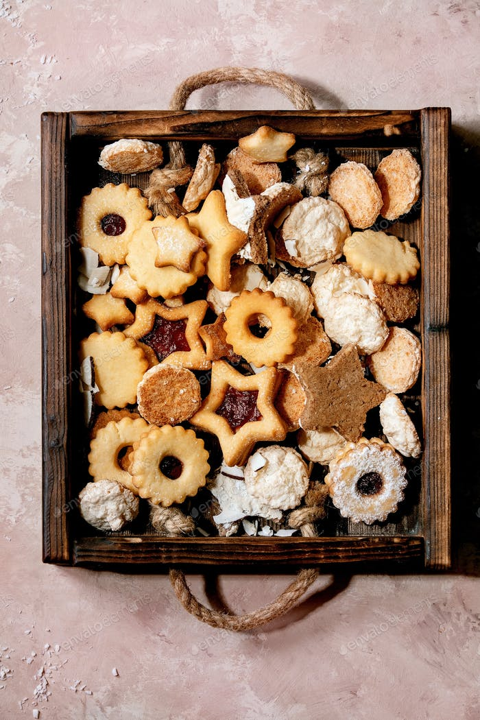 Homemade shortbread biscuits cookies collection. Top view