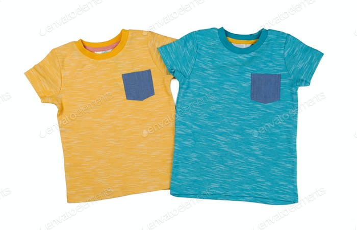 Two colored T-shirts.