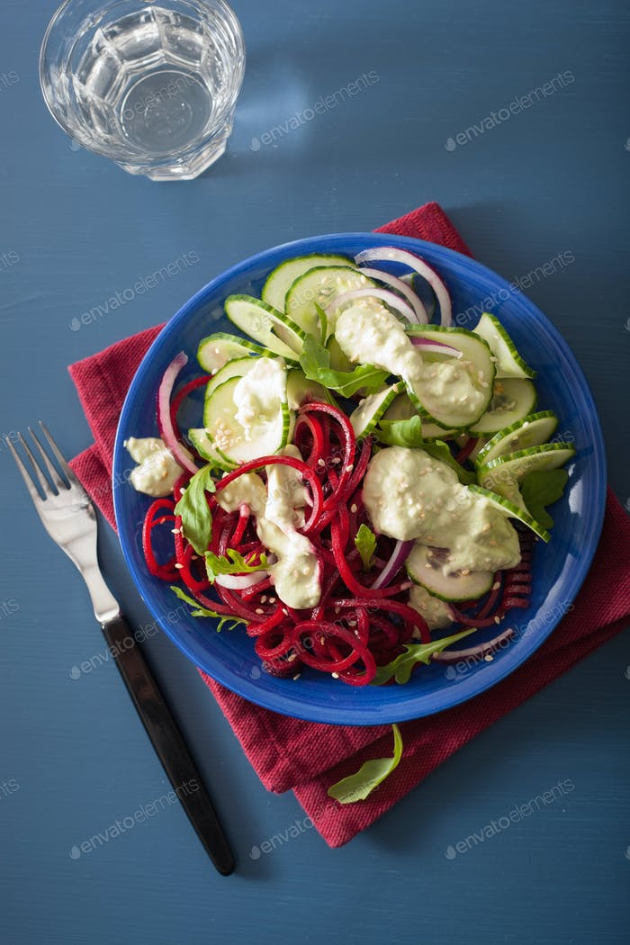 spiralized beet and cucumber salad with avocado dressing, health