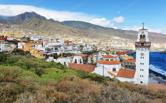 Blick über die Stadt Candelaria auf Teneriffa, Spanien