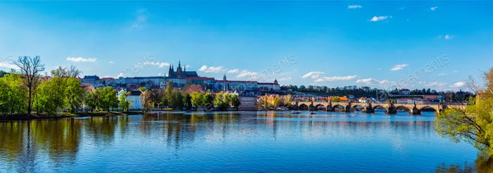 View of Prague castle and Charles bridge over Vltava