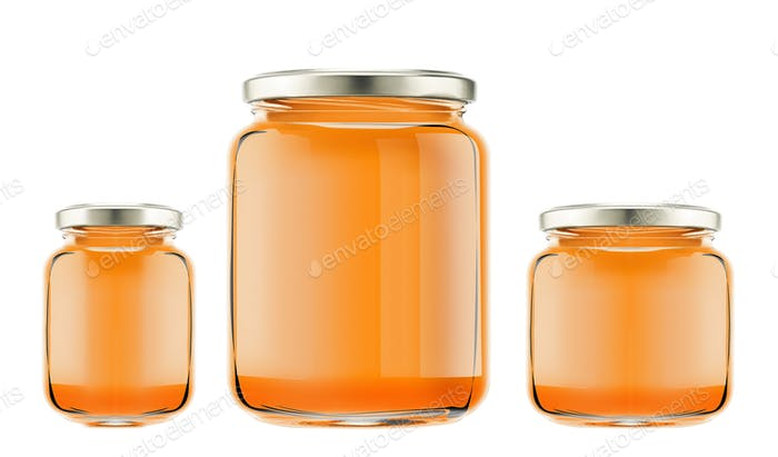 bottles with honey isolated