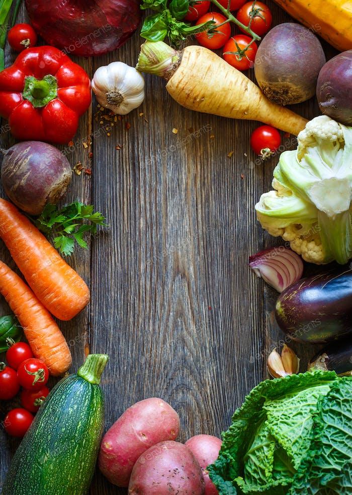 Frame of fresh vegetables.