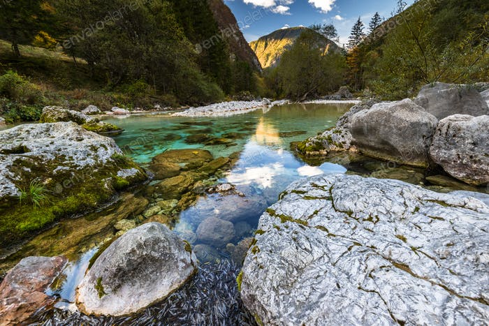 Beautiful and unspoiled Soca river in Slovenia