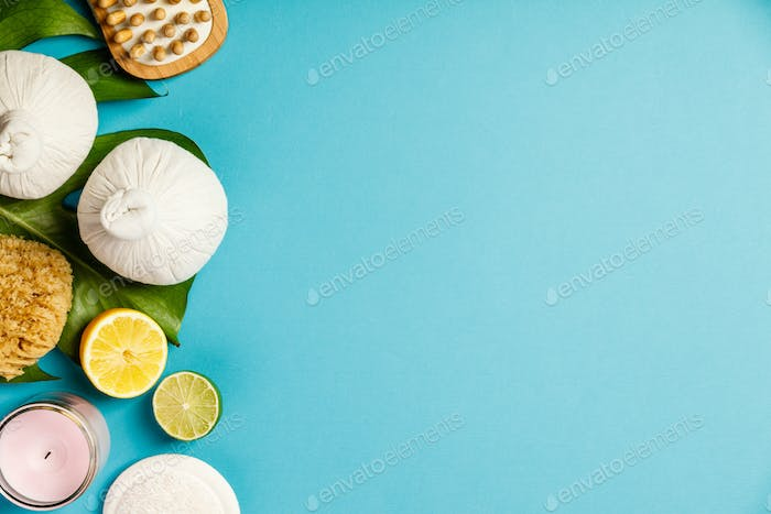 SPA composition on blue background