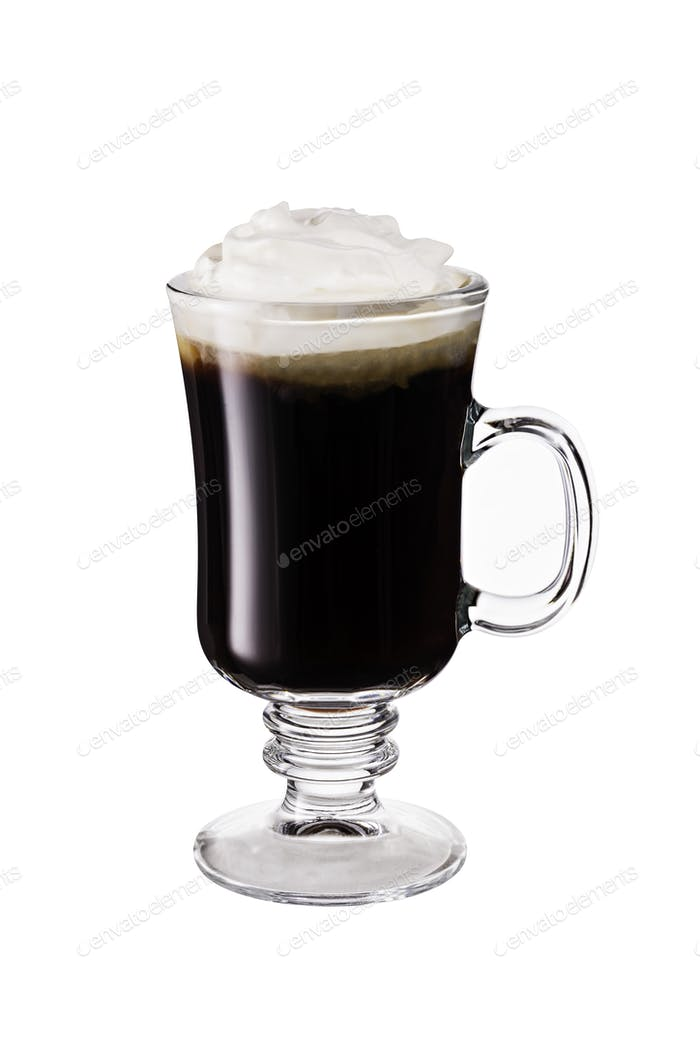 Warm Whiskey Irish Coffee Cocktail on white