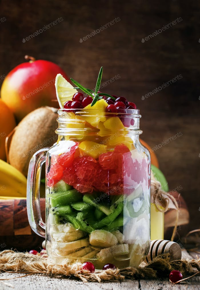 Spring vitamin salad made from fruits