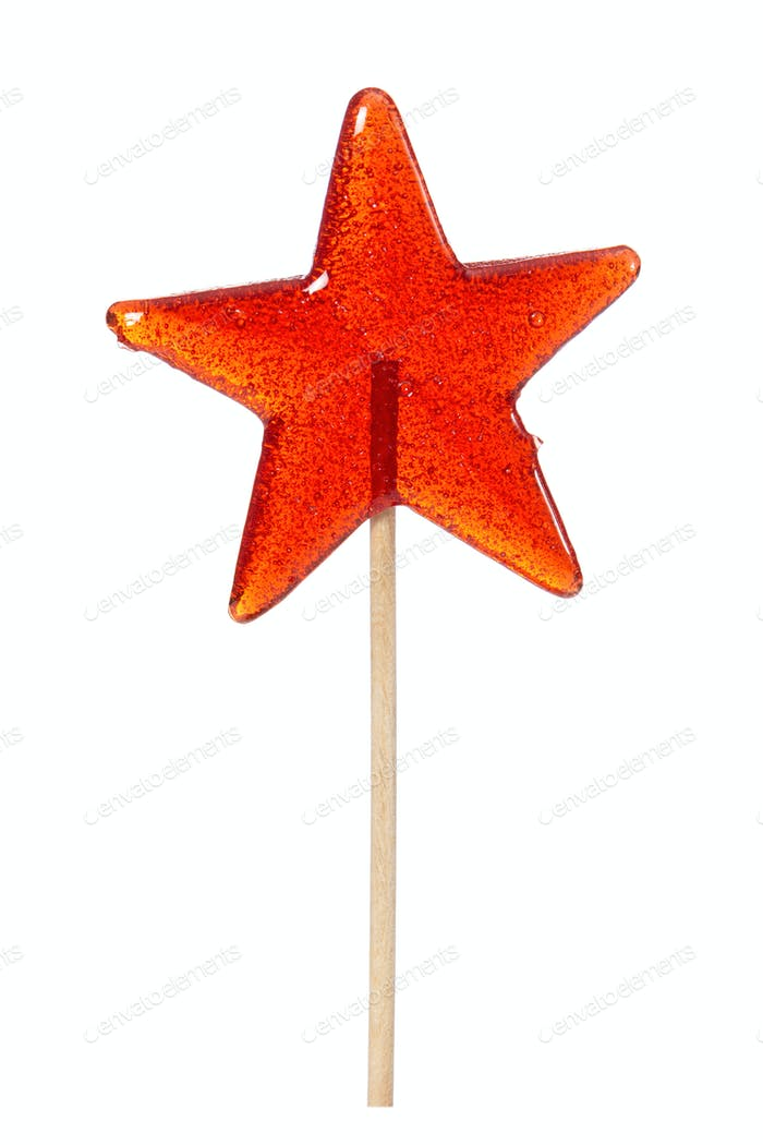 Sweet lollipop in the shape of a star isolated on white