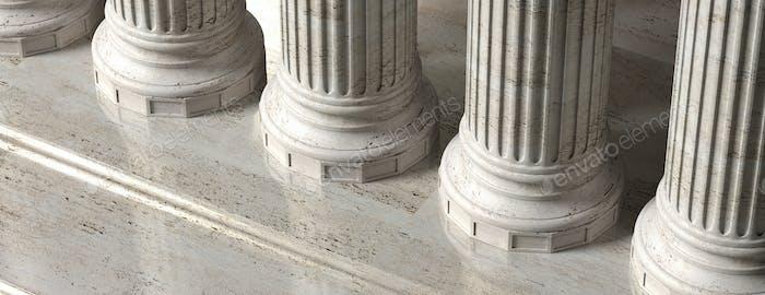 Klassisch Gebäudefassade, Steinmabel Säulen. 3D Illustration