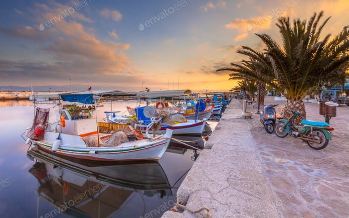 Greek Fishing boats harbor scene