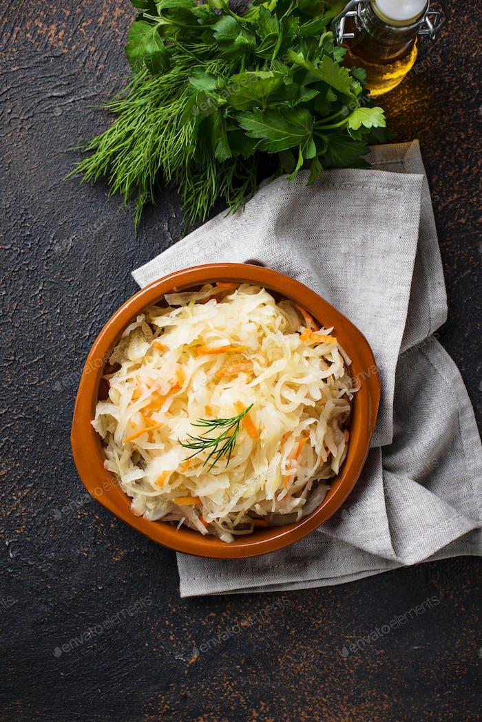 Homemade sauerkraut or pickled cabbage