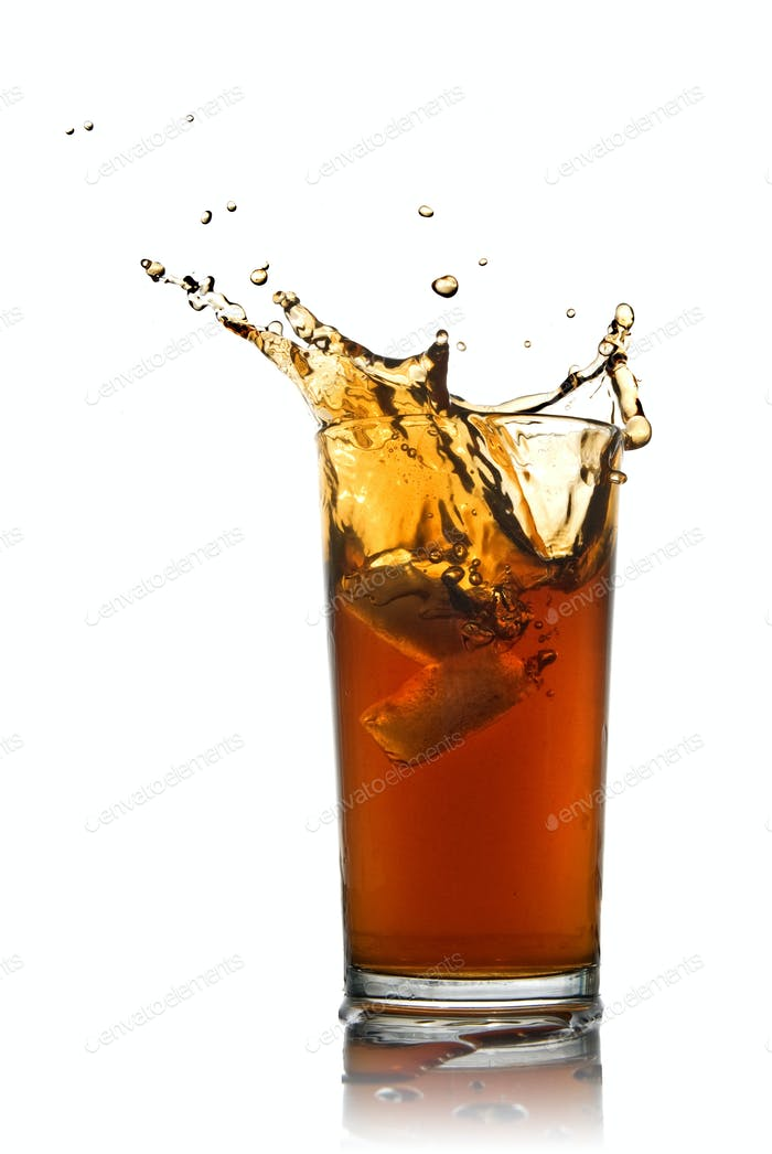 splash of cola isolated on white