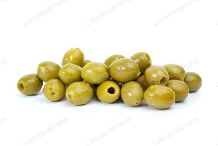 Pile of  green pitted olives