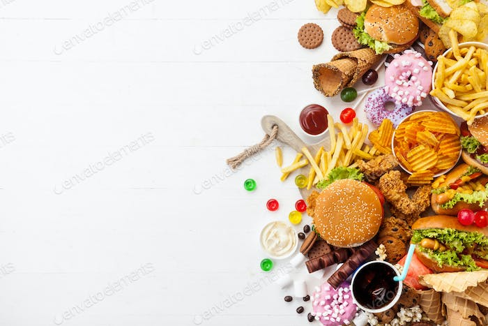 Fast food dish on white background