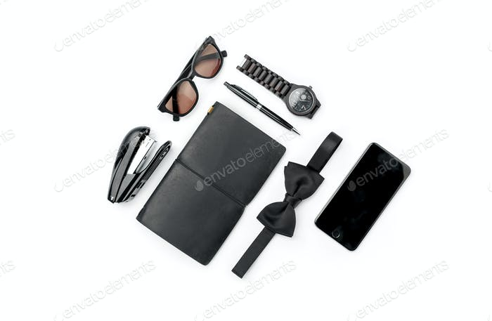 Still life of casual man. Modern male accessories on white