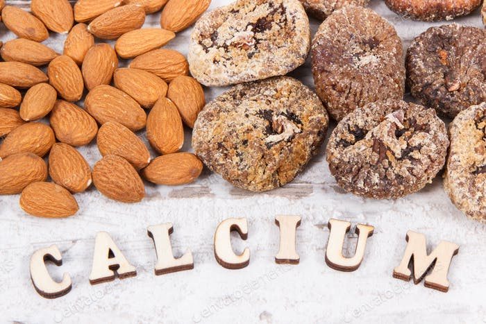 Natural food containing calcium, minerals and dietary fiber, healthy nutrition concept