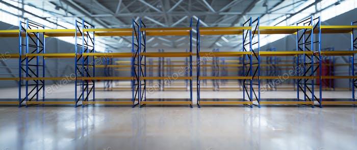 Neues leeres Lager zu vermieten. Industrie-Lagerhaus, Lagersystem