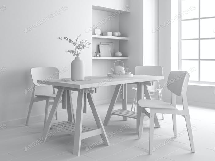 white interior design 3D rendering