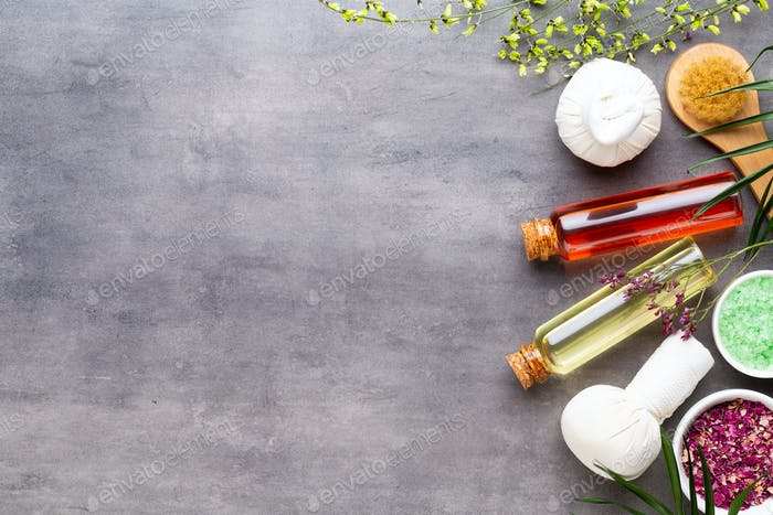 Spa natural skin care products background with space, cosmetic products.