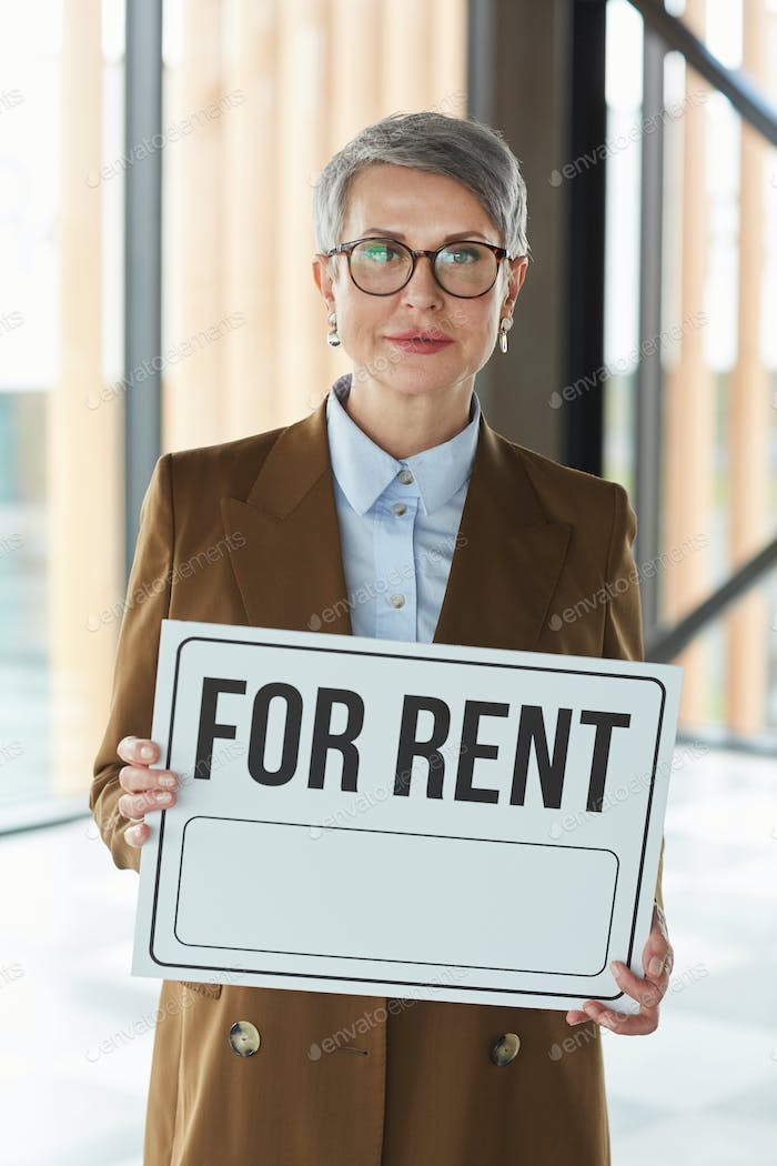 Woman suggesting office for rent