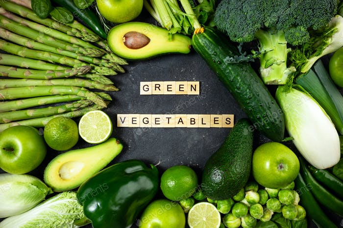 Green vegetables and fruits. Healthy food vegetables and fruits, dieting concept. Top view