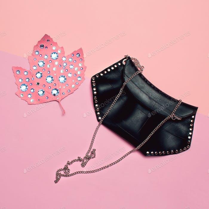 Fashion accessories for women. Clutch bag. Rhinestones glam vibe