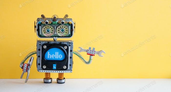 Handschlüssel Roboter Militär Arbeiter auf gelbem Hintergrund.