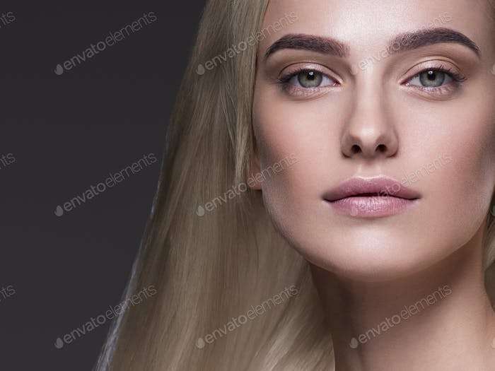 Blonde platinum hair woman beauty face portrait