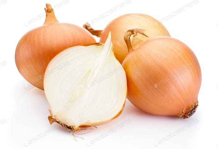 Thumbnail for Fresh onion bulbs isolated on white background
