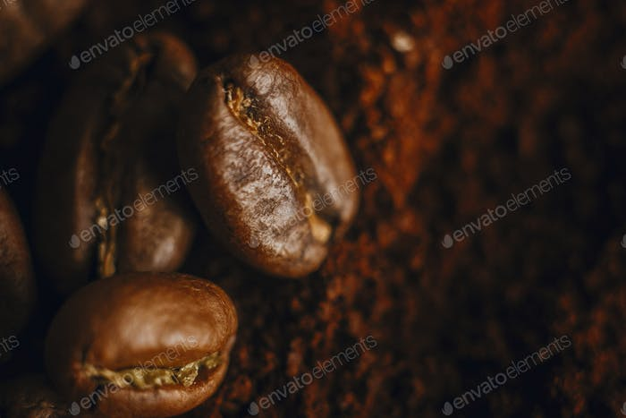 Fresh aromatic roasted coffee beans macro view