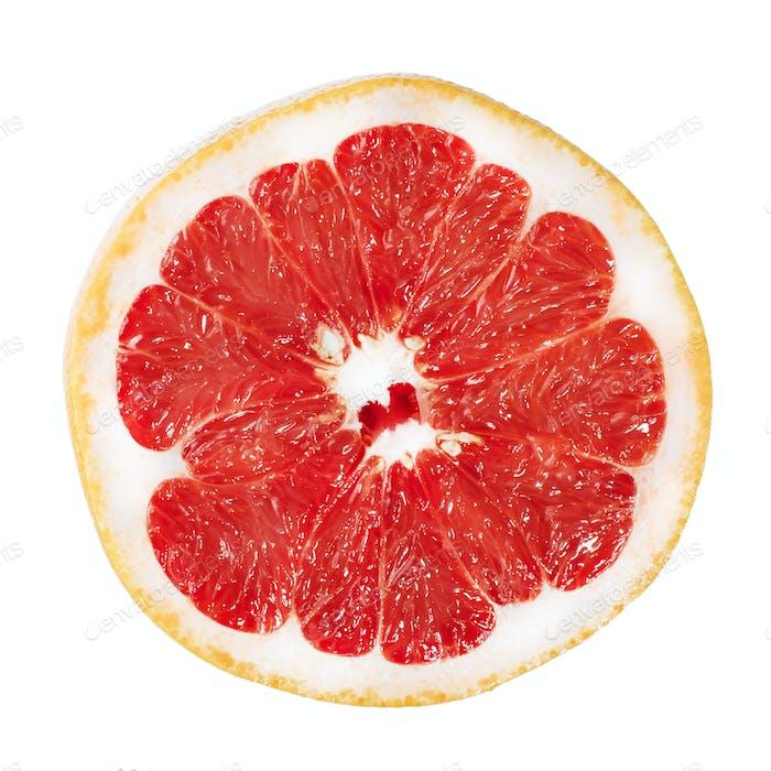 Stihli, tasty grapefruit slice isolated on white background. Advertising photography
