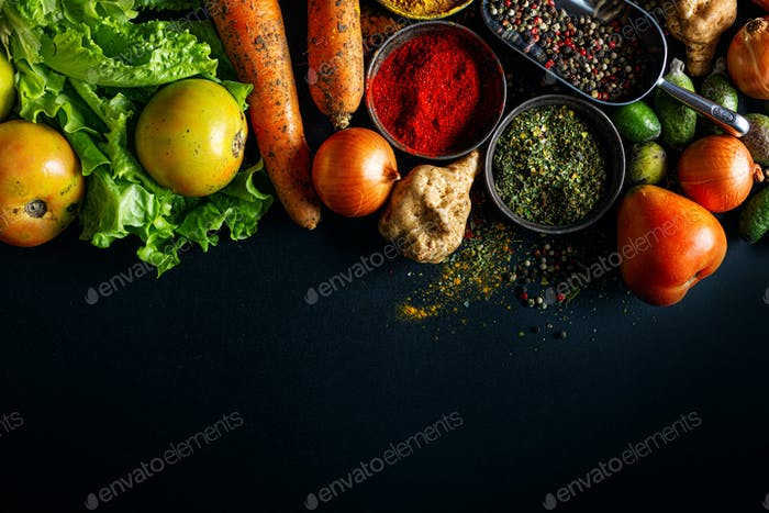 Food background with veggies and spices