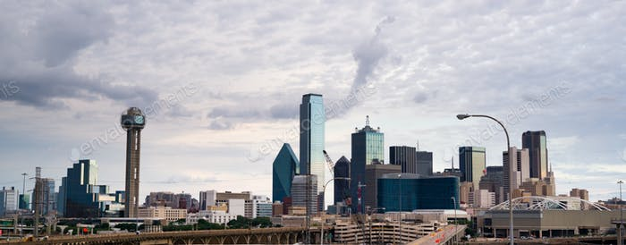 Panoramic View Dramatic Sky Dallas Texas North America