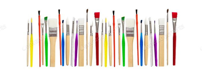 Paint brushes new clean isolated against white background.