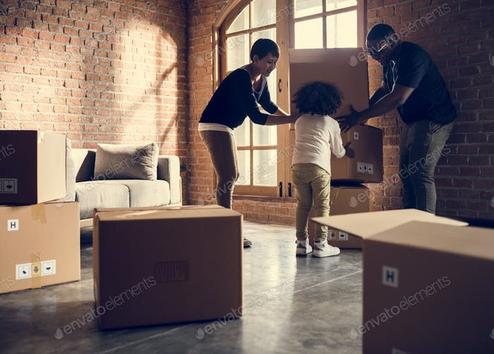 African family unpacking