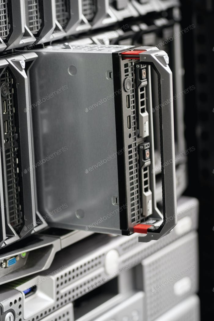 Close-up of Blade Server in Rack At Enterprise Datacenter