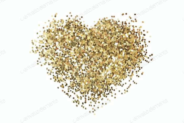 Gold glitter sequins texture  on white. Heart shape. Abstract background.