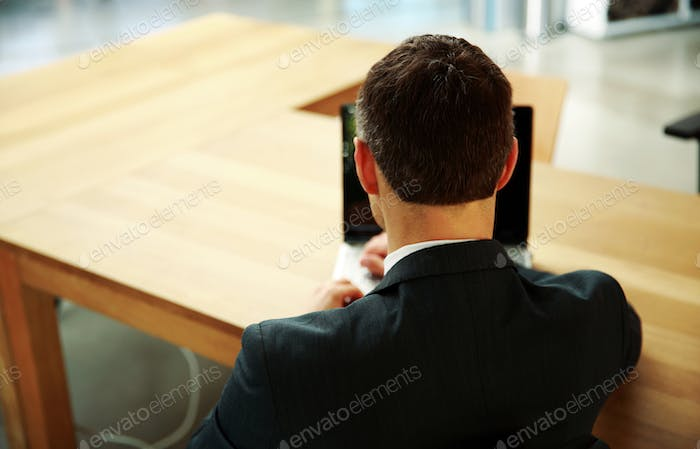 Back view portrait of a businessman sitting with laptop at office