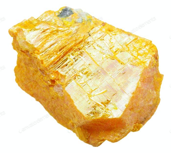 Stück Orpiment Stein isoliert auf weiß