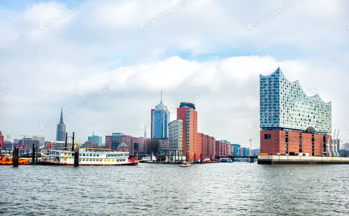 panoramic view of Hamburg city
