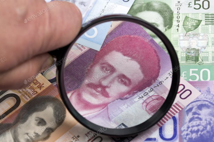 Scottish pound in a magnifying glass