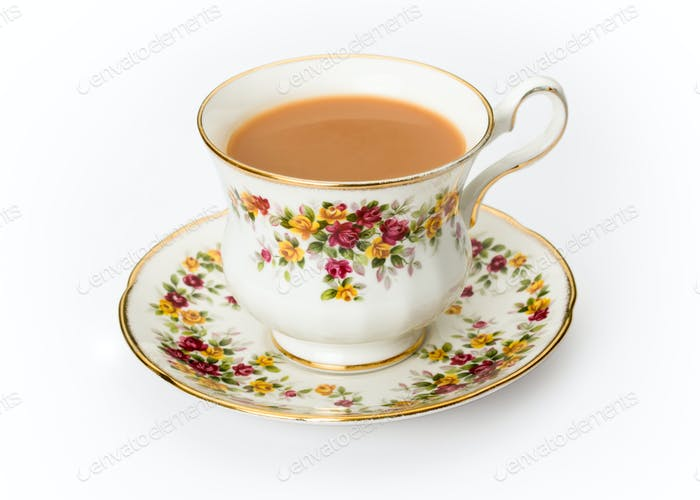 English tea in a bone china cup