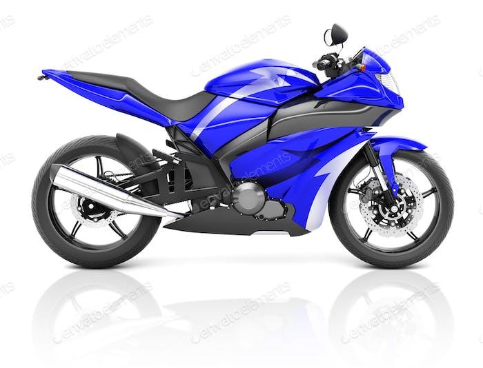 3D Image of a Blue Modern Motorbike