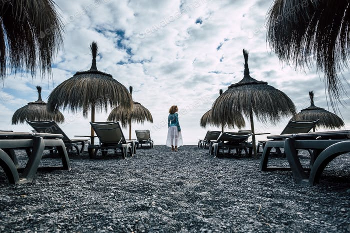 dark and blue colors and tones for epic image of lonely vacation