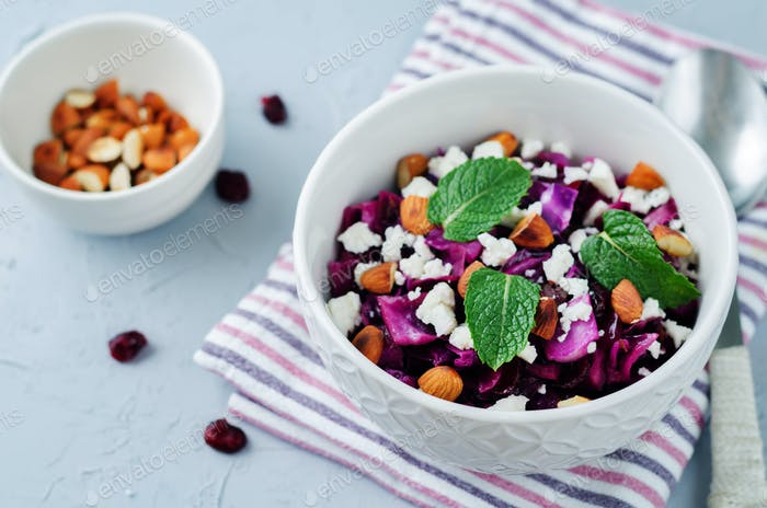 Red Cabbage with Cranberries, Almonds and Goat Cheese
