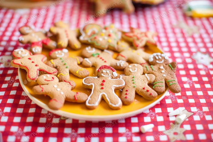 Ready Christmas gingerbread cookies on a plate