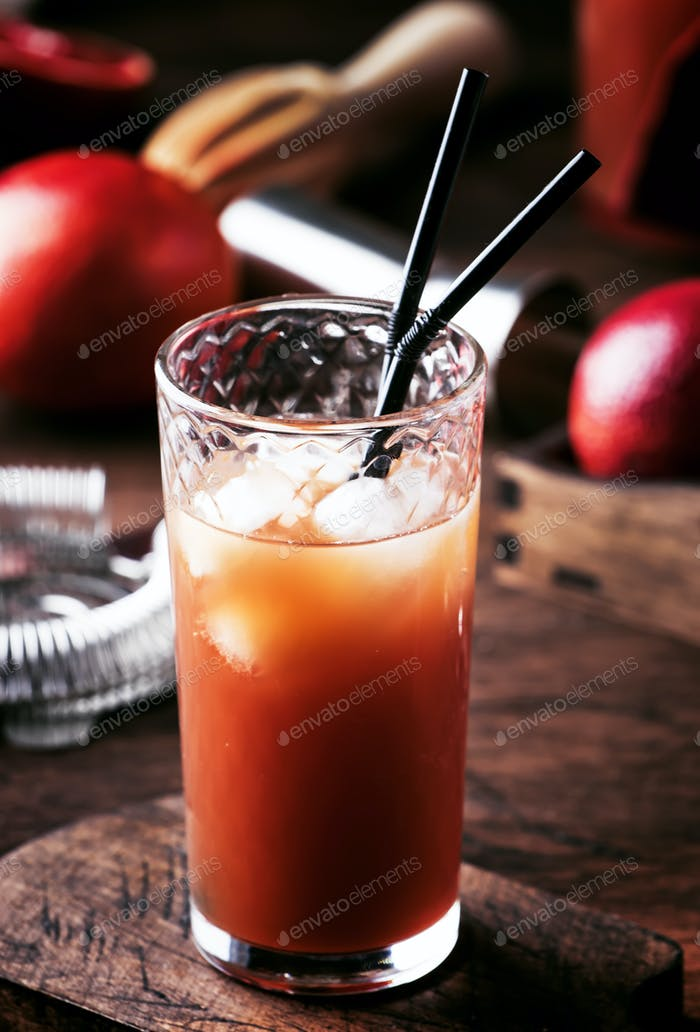 cocktail with vodka, orange juice, bloody orange and ice