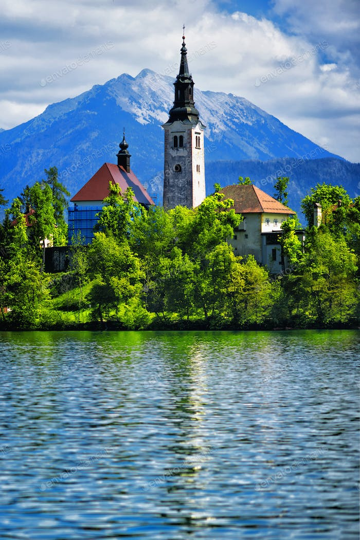 Bled Lake with Castle and Mountains in Background